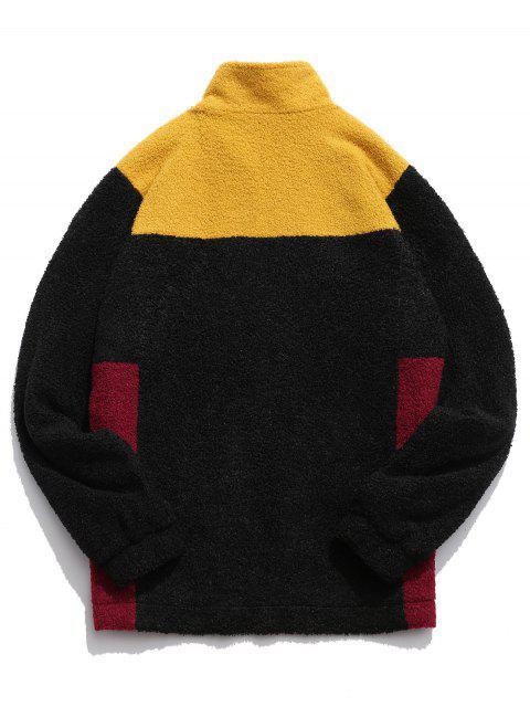 shops ZAFUL Color Block Zipper Pockets Fluffy Coat - GOLDENROD M Mobile