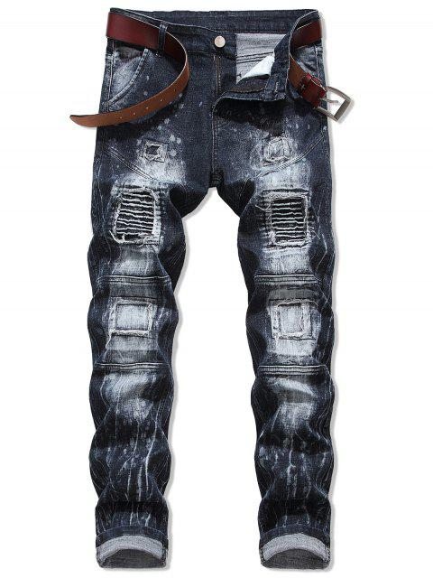 affordable Pleated Patchwok Spliced Long Biker Jeans - DARK SLATE BLUE 36 Mobile
