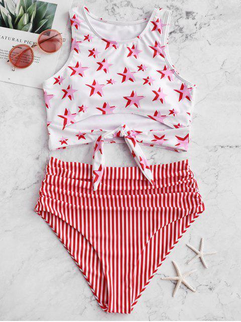 ZAFUL Nudo fruncido estrellas y traje de baño Tankini a rayas - Rojo Lava L Mobile