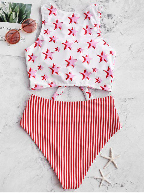 womens ZAFUL Knot Ruched Stars and Striped Tankini Swimsuit - LAVA RED XL Mobile