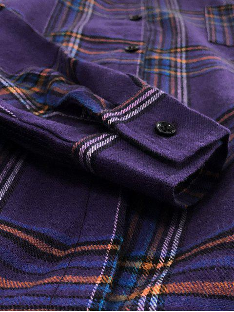 unique Plaid Chest Pocket Drop Shoulder Button Shirt - PURPLE M Mobile