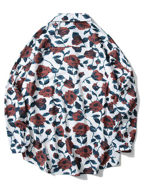 Camisa del hombro de impresión de goteo alta Flor Baja - Blanco 2XL Mobile