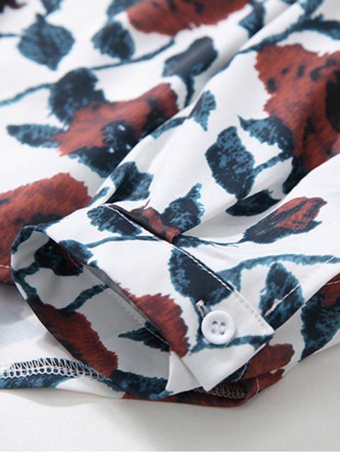 Camisa del hombro de impresión de goteo alta Flor Baja - Blanco L Mobile