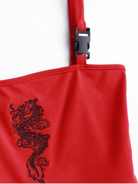Canotta Ricamata a Drago con Spalline con Fibbia - Rosso S Mobile
