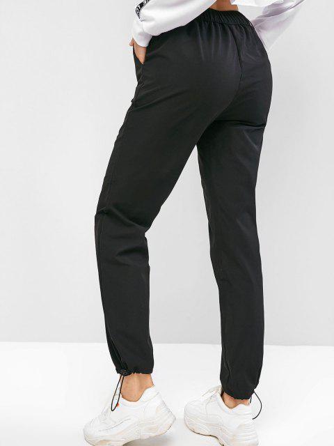 Pantaloni da Jogging a Vita Alta con Ricamo Drago - Nero S Mobile