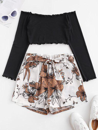 Off Shoulder Top And Floral Paperbag Shorts Set