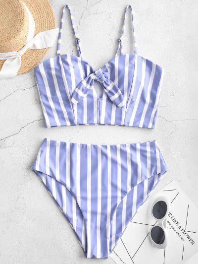 ZAFUL Striped Tied Keyhole Tankini Swimsuit - Pastel Blue M