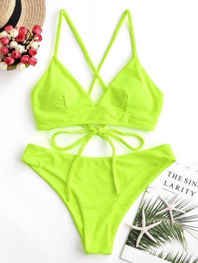 ZAFUL Braided Lace Up Plain Bikini Swimsuit - Green Yellow M