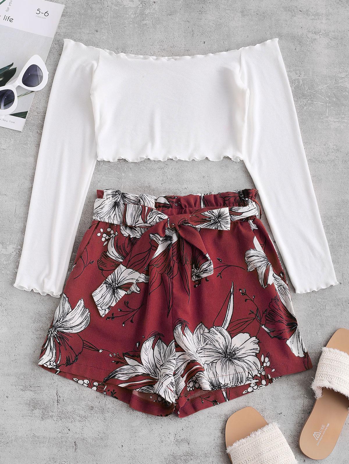 ZAFUL Ribbed Floral Off Shoulder Paperbag Shorts Set