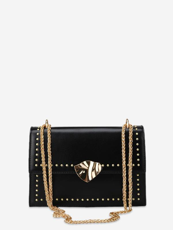 Square Crossbody Bag with Studs, Black