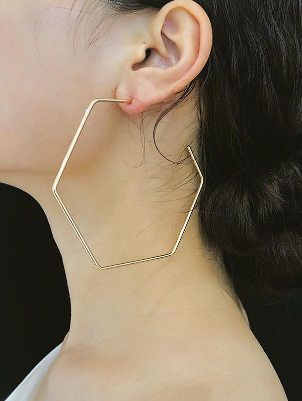Exaggerated Hexagonal Hoop Earrings, Gold