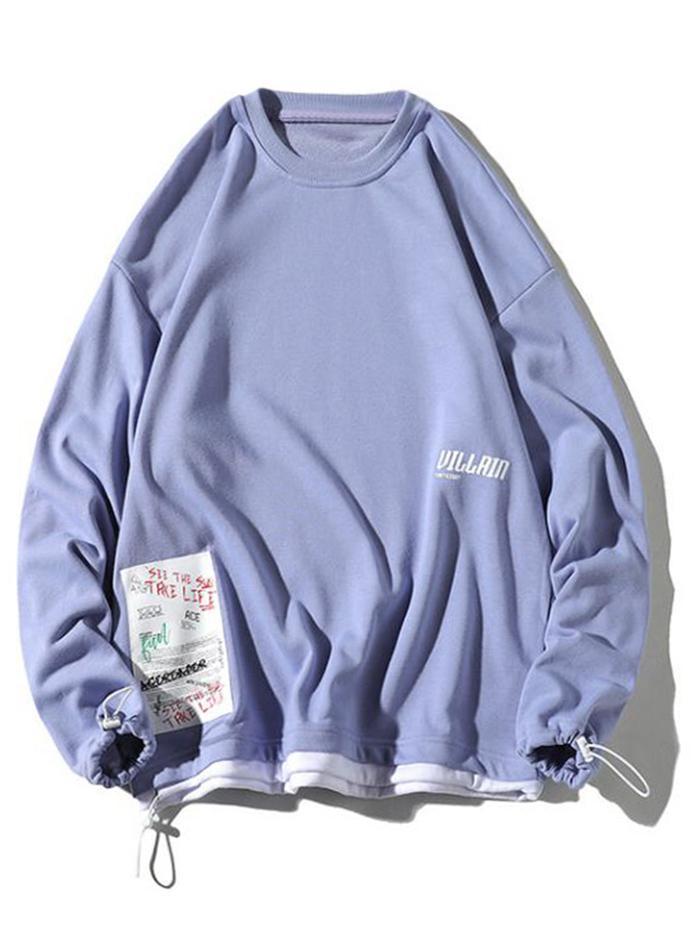 Zaful coupon: Color Block Splicing Hem Letter Applique Casual Sweatshirt
