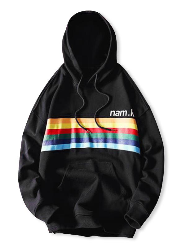 Rainbow Striped Letter Graphic Print Casual Hoodie фото