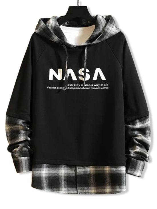 Plaid Splicing Letter Graphic Faux Twinset Raglan Sleeve Hoodie фото
