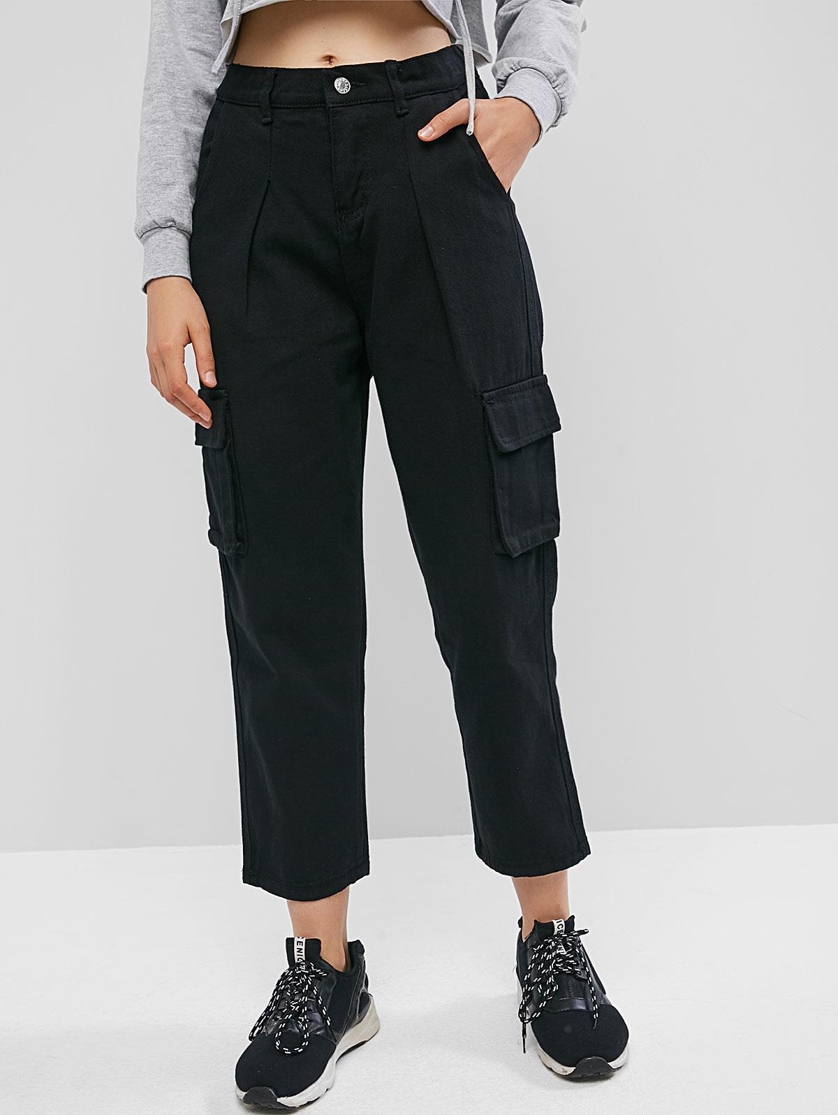 High Waisted Flap Pockets Straight Pants, Black