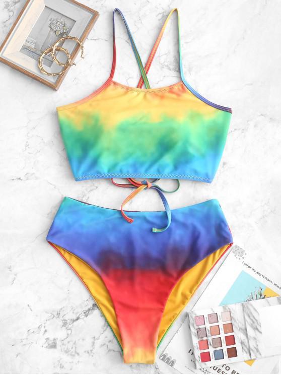 sale ZAFUL Rainbow Tie Dye Lace-up Reversible Tankini Swimsuit - MULTI-A L