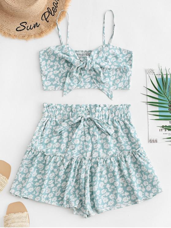outfit ZAFUL Knot Floral Cami Top and Shorts Set - MACAW BLUE GREEN S