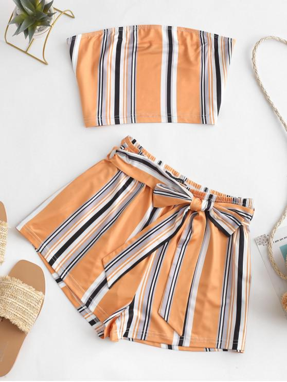 outfit ZAFUL Multi Striped Bandeau Two Piece Set - MULTI L