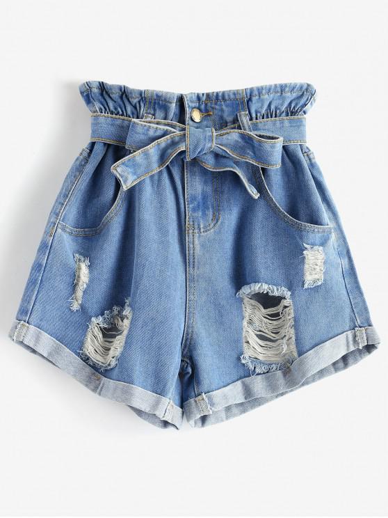online Cuffed Destroyed Denim Paperbag Shorts - DENIM BLUE L