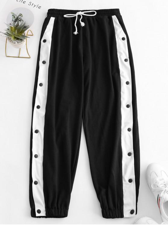 affordable Drawstring Two Tone Snap Button Jogger Pants - BLACK L