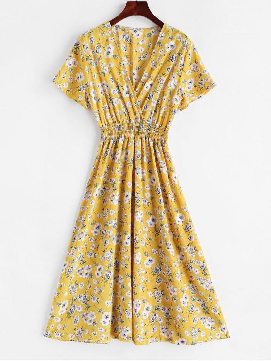 latest Floral A Line Surplice Dress - GOLDENROD M
