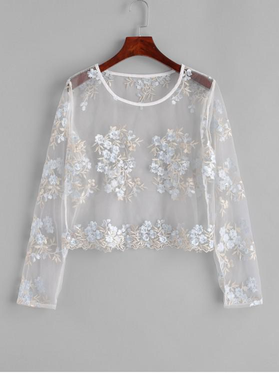 buy ZAFUL Floral Embroidered Sheer Mesh Blouse - MILK WHITE M