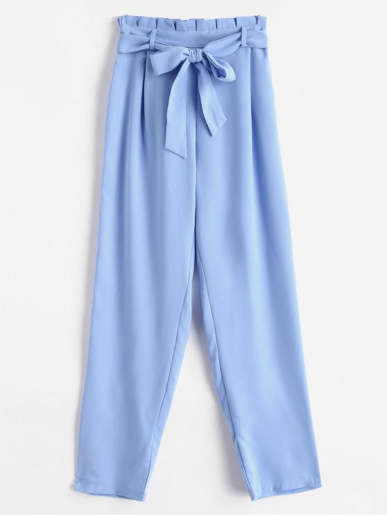 hot Straight Belted Paperbag Pants - LIGHT BLUE S