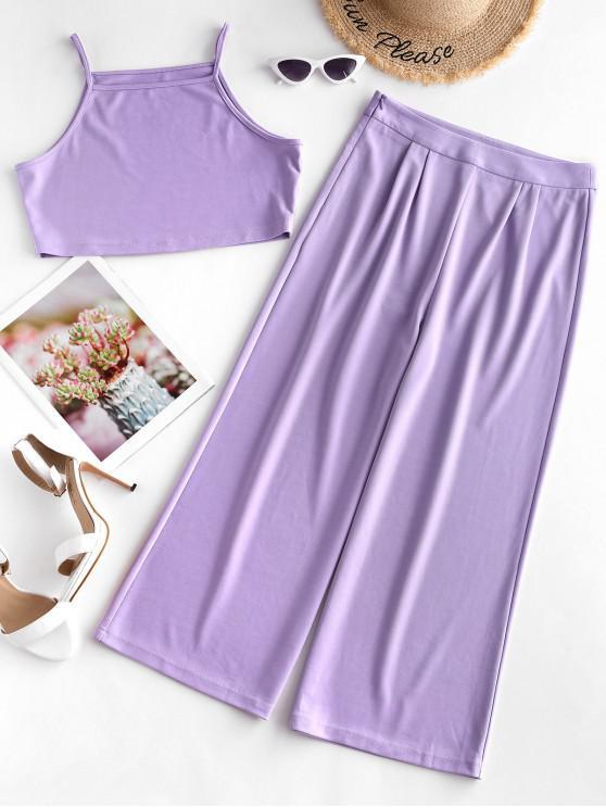 women ZAFUL Crop Cami Top and Wide Leg Pants Set - PURPLE FLOWER XL