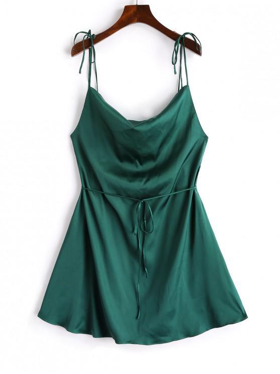 chic ZAFUL Spaghetti Strap Satin Tie Shoulder Mini Dress - DARK FOREST GREEN M