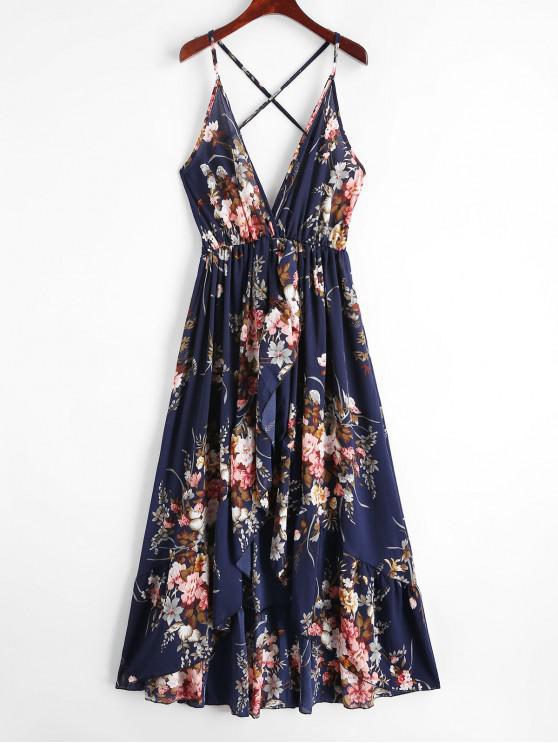 outfits Floral Criss Cross Cami Asymmetrical Dress - MIDNIGHT BLUE L