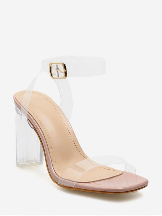best Clear PVC Ankle Strap Heeled Sandals - APRICOT EU 39