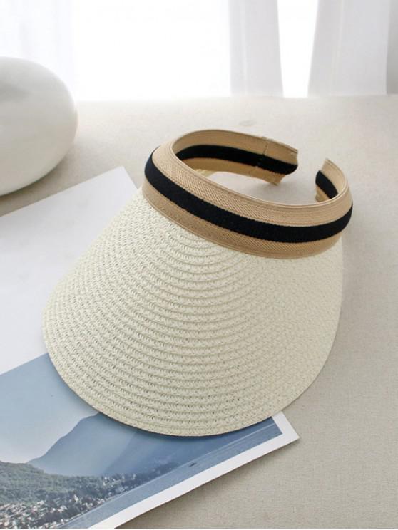 Sombrero de ala ancha con rayas de paja - Blanco