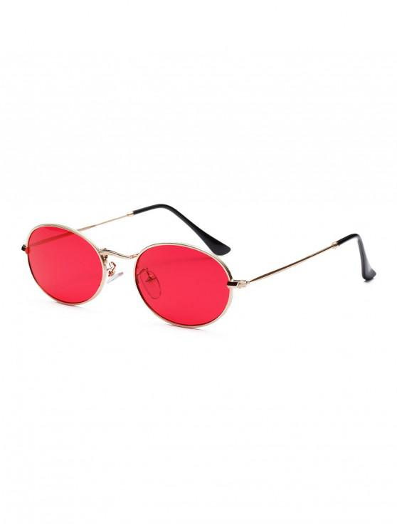 lady Vintage Round Frame Street Snap Sunglasses - RED