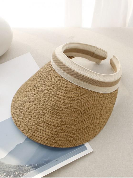 Sombrero de ala ancha con rayas de paja - Caqui Oscuro