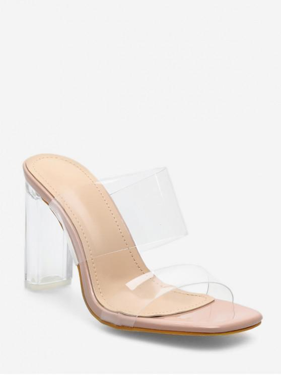 trendy Color Spliced Chunky Heel Sandals - APRICOT EU 38