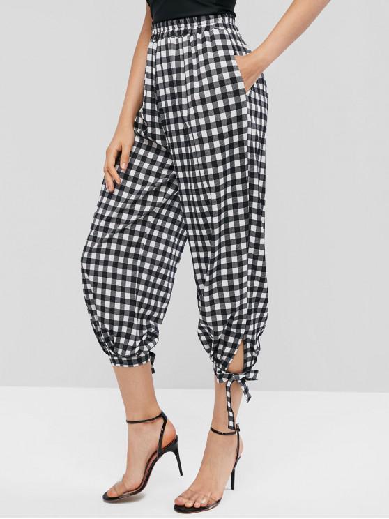 fancy High Waisted Knots Plaid Jogger Pants - BLACK XL