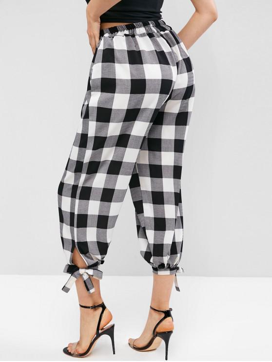 hot Seam Pockets Plaid Knotted Jogger Pants - BLACK M