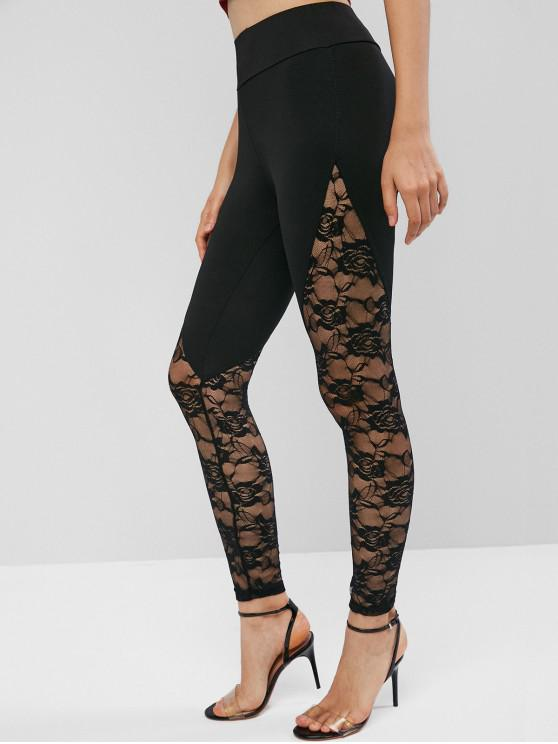 trendy High Waisted Pull On Lace Panel Leggings - BLACK M