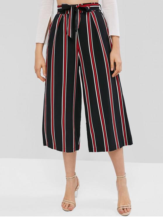 Pantalones capri de pierna ancha a rayas - Negro M
