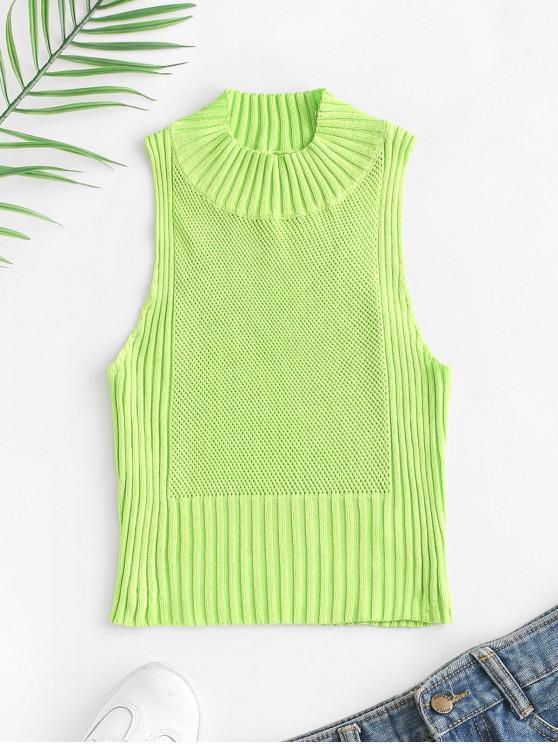Canottiera a maglia a maglia aperta con collo a lupetto - Verde L