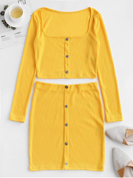 women's Cropped Buttoned Ribbed Two Piece Dress - YELLOW L
