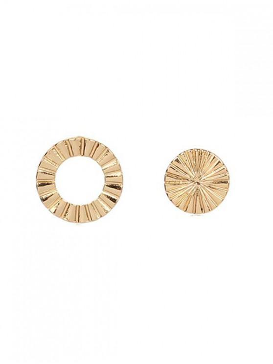 trendy Asymmetric Round Stud Earrings - GOLD