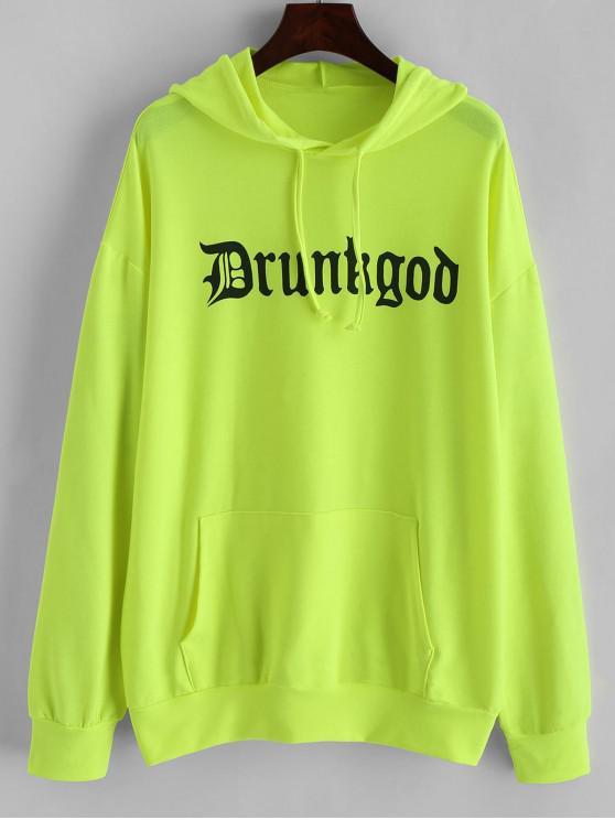 women Neon Slogan Graphic Front Pocket Longline Hoodie - GREEN YELLOW M