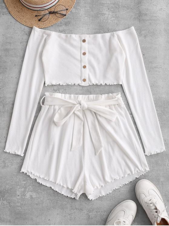 hot ZAFUL Ribbed Buttoned Off Shoulder Paperbag Shorts Set - MILK WHITE S