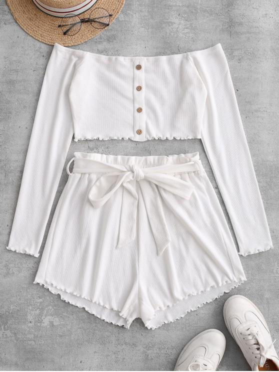 shop ZAFUL Ribbed Buttoned Off Shoulder Paperbag Shorts Set - MILK WHITE M