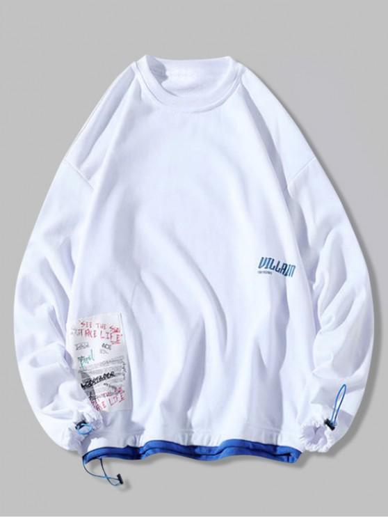 unique Color Block Splicing Hem Letter Applique Casual Sweatshirt - WHITE 2XL