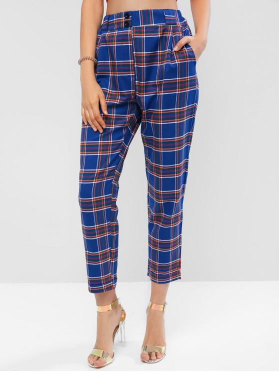 new High Rise Plaid Cuffed Pocket Pencil Pants - BLUEBERRY BLUE M