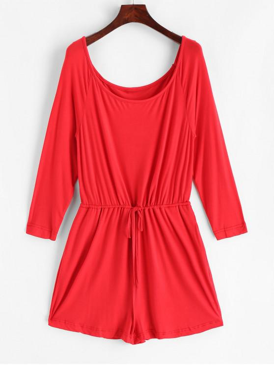 Scoop Neck Drawstring Wide Leg Romper - Rojo L