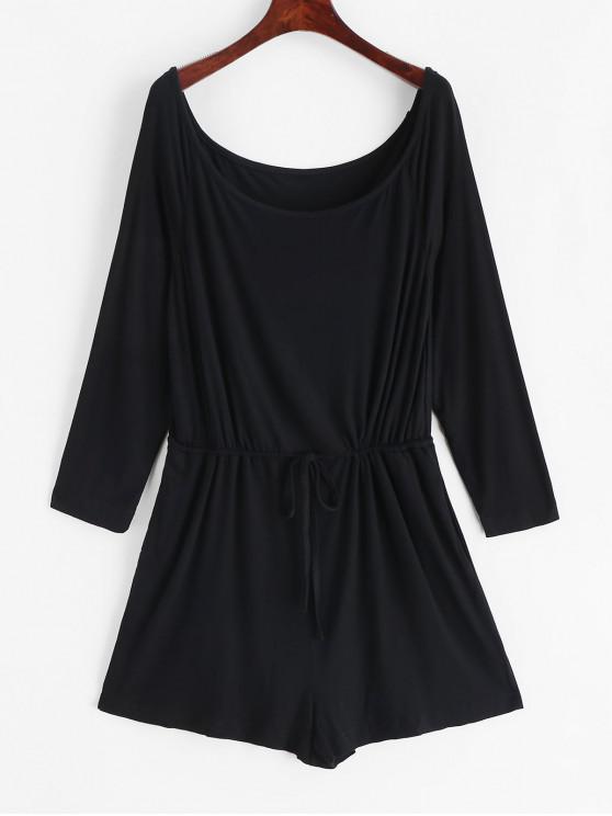 outfit Scoop Neck Drawstring Wide Leg Romper - BLACK L