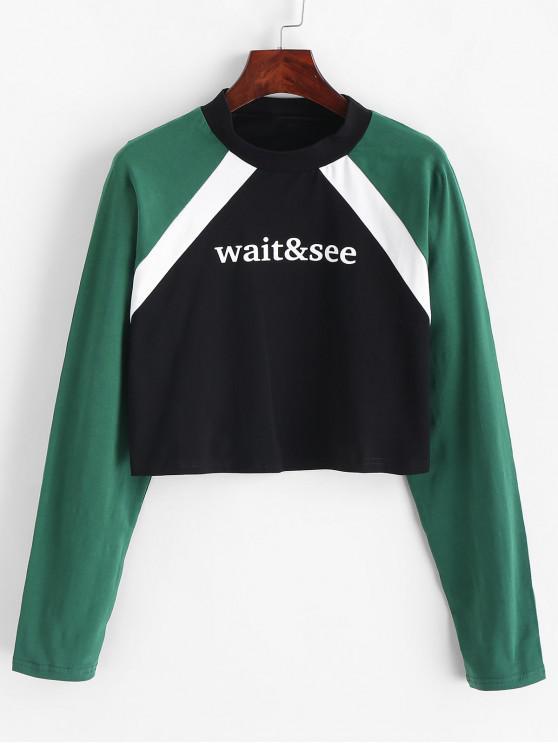 chic Cropped Slogan Graphic Color Block Sweatshirt - MULTI L